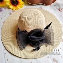 fashion summer straw hat Feather Chapeau Femme Flower beach wide brim folding sun hat  for woman
