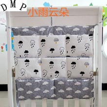Promotion! Cartoon cotton 62*52cm Baby Bed Hanging Storage Bag Style Fashion And Comfotable,crib bedding set
