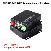 1080P HD AHD CVI TVI Fiber optical video converter, 2 Channel Video Optical Conveter with Reverse RS485 Data Single Mode 20KM