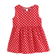 Girls Dress White Dot Print Red Children Clothes Cotton 2017 Summer Princess Wedding Party Dresses for 2 to 8 years old Girls