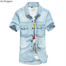 Helisopus New Design Denim Shirt Casual Men's Short Sleeved Summer Korean Style Fashion Jeans Cotton Shirts Patchwork Male Tops