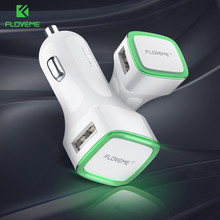 FLOVEME LED Car Charger Dual USB Output 2.1A Lighter DC 12-24V 2 Port Car-charger Phone Adapter For iPhone X 8 Samsung S8 Xiaomi(China)