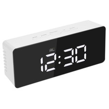 Led Digital Alarm Clock USB Charging Night Light Temperature Display Mirror Thermometer Digital Clocks Touch Sensing Table Lamp(China)