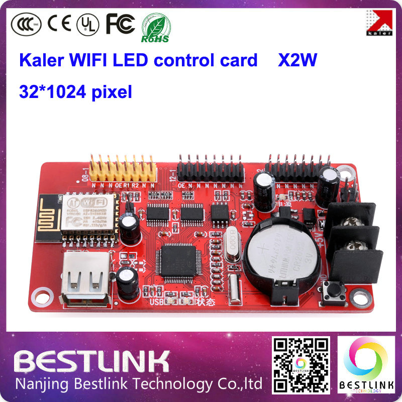 XU2W led controller card 32*512 pixel KALER wifi control card x2w USB port for p10 led moving sign p10 led display module p10(China)