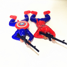 Electric cartoon American captain spider man crawler soldier light emitting super realistic shot gun creeping toy for kids gift(China)
