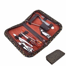 10pcs In 1 Nail Clippers Scissors Grooming Tool Manicure Pedicure Kit Set With Leopard PU Leather Bag Case(China)