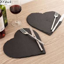 XYZLS Popular Heart Shape Natural Slate Solid Steak Plate Cheese Tray Baking Tools Tableware Sushi Dish Barbecue Tray(China)