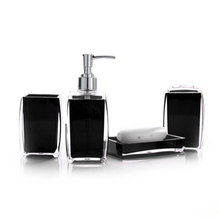 Acrylic 4 Piece Bathroom Accessory Set Soap Dispenser Bottle Soap Dish Cup Toothbrush Holder Case Caddy @LS(China)