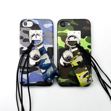 Hot blue green Camouflage Pendant baseball cap plastic shell for iPhone 7 case 7 plus for iphone 6 case 6s 6 plus 4.7 5.5 inch(China)
