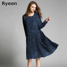 Ryeon Bohemian Blue Yellow Floral Pleated Women Dresses Print Knee Length Natural O Neck Spring Maternity Shift Dresses XL-4XL(China)