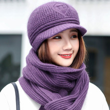 Two-piece women winter hats rabbit cashmere knitted cap neck warm beanie gorro bonnet femme thick solid hat women winter scarf(China)
