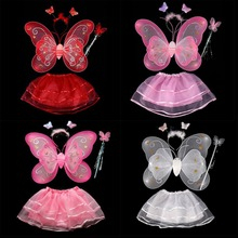 Hot Butterfly Wing Wand Headband Tutu Skirts Cosplay Costume For Fairy Girl Kid Butterfly wing +Wand +Headband +Tutu Skirt sets(China)