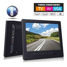 8 inch Car CCTV Monitor PC Portable Monitor Analog TV Receiver Color Video Monitor Screen VGA / BNC / AV Input  - Black