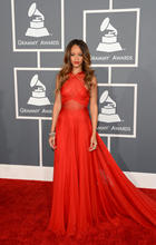 2016 Gremmy Awards Red Chiffon Backless Sexy Rihanna Celebrity Red Carpet Dresses Prom Gown ZY1159