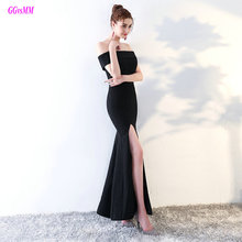 Glamorous Little Black Mermaid Evening Dresses 2017 Sexy Boat-Neck Elastic Satin Evening Party Dress Long Formal Evening Gowns(China)