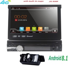 "7 ""Universal 1din Android 8.1 Quad Core Auto DVD player GPS Navigation Wifi BT autoRadio 2 GB RAM 16 GB ROM 4G SWC RDS OBD2 TUPFEN CD(China)"