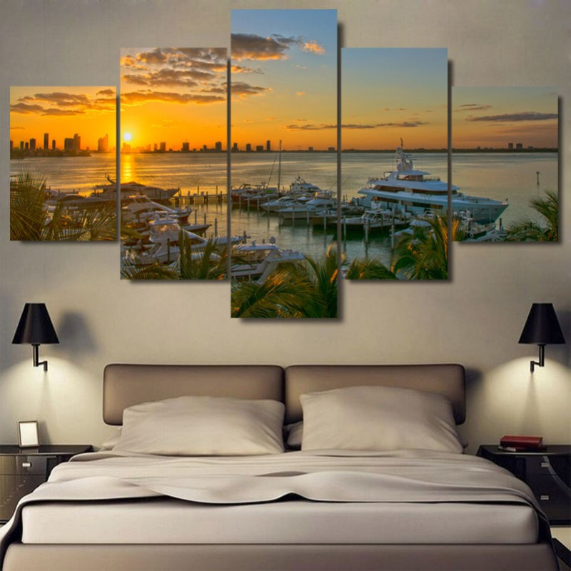 5 Pieces Modern Wall Art Painting Of Landscape Tiger Red wine Holiday Artwork Picture Custom Sale Modular Paintings On The Wall(China (Mainland))