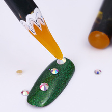 1Pc Easily Picking Up Rhinestone Picker Pen Wooden Wax Pen Nail Manicure Tool Random Color(China)