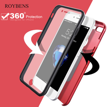 Roybens For iPhone 6S Case 360 Coverage Full Protection Cover For iPhone 6 6S 7 Plus Hard PC Back Front Transparent Silicon Case