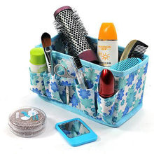 Fashion Non Woven Fabric Folding Multifunction Makeup Cosmetic Case Storage Box Container Case Organizer with Pockets