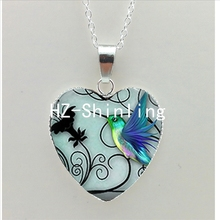 New Blue Hummingbird Heart Necklace Hummingbird Art Heart Pendant Jewelry Silver Heart Necklace HZ3