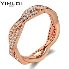 AAA Zircon wedding Rings for women Wide Rose Gold color Crystals engagement rings female anel bijoux gift top quality RA031