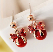 Brand fashion Elegant  Women gold  pomegranate red pearl bow earring Bride Jewelry