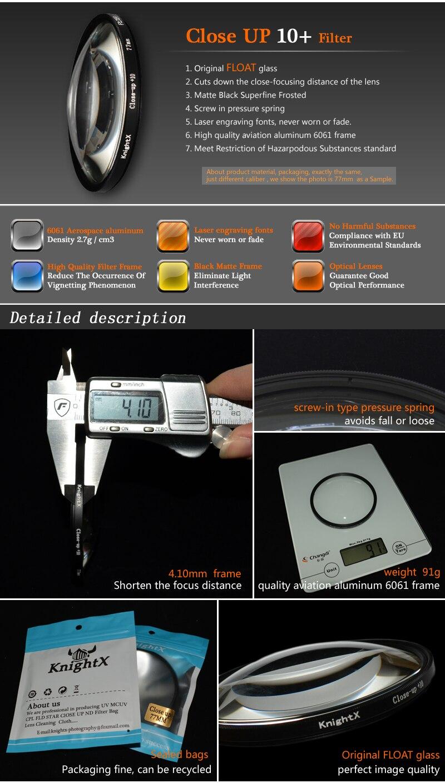 KnightX 52mm 58MM 67MM Graduated Color ND CPL UV Lens Filter Kit for Nikon canon D5100 D3300 D5300 D50 D3100 D30 SLR Camera 13
