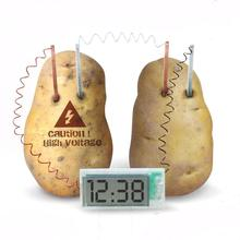 Hot educational DIY material for children kids Potato LED Digital Clock Novel Green Science Project Experiment Kit Lab Home