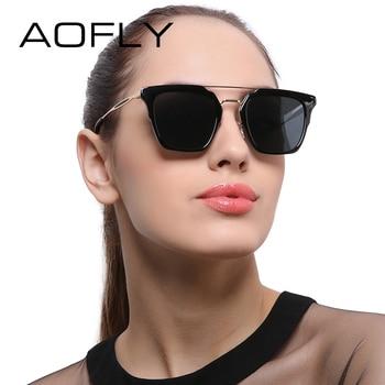 Aofly polarizada óculos de sol requintados senhora óculos de sol do vintage óculos de proteção óculos de revestimento do espelho duplo-ponte feminino lunettes af7990