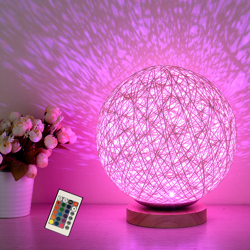 LED Remote Control Night Light colorful RGB kids baby room bedside table lamp wicker atmosphere party Xmas holiday night lights<br>