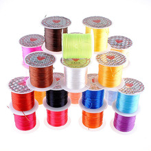 LAOSHUMIN New 1 Roll 0.5mm Sturdy Elastic line Flat crystal line DIY Beading Wire Jewelry Making Cord/String 15Colors