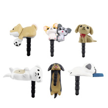 2016 Cute Puppy Dog 3.5mm Anti Dust Earphone Jack Plug Stopper Cap For Phone Wholesale