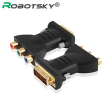 Gold plated DVI Adapter DVI-I 24+5 Male to 3 RCA Component Display Adapter PC HDTV Projector Connectors
