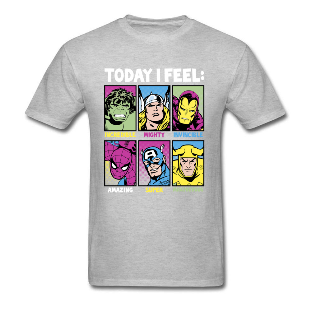 Star Wars Today I Feel Marvel Heroes T Shirts Funky Mens Summer/Autumn Tops Tees Casual Top T-shirts Crewneck 100% Cotton Fabric Today I Feel Marvel Heroes grey