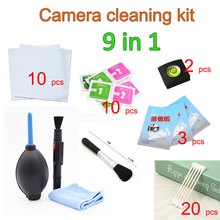 9 in1 Lens Cleaning Kit Air Blower Sweep Dry Wet Tissue Hot Shoe Level Lens Cleaning Paper Camera LensPen Screen Cloth Wholesale(China)