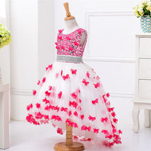 High Quality Fashion Girls Butterfly Wedding Party Ball Gown Dresses Sequins Diamond Trailing Evening Kids Costume Girl Tutu