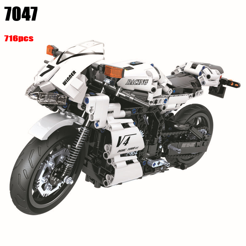 7047 716pcs Technic series White Racing motorcycle Building Blocks DIY Bricks Toys for children Great Gifts <br>
