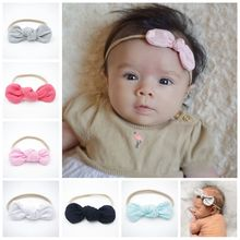 Nylon Headband Baby Girls Bow Head Band Hair Accessories Elastic Rabbit Ears Knot Hairband for Infant Kids Toddler Handmade 2016