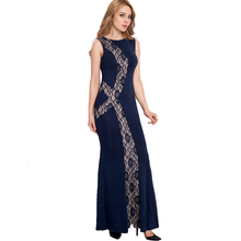 RL80054 Top selling lace party dresses summer sleeveless floor-length long dress popular style fashion high quality maxi dress(China)
