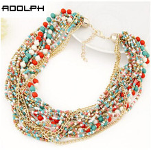 ADOLPH Jewelry Fashion Brand Europe Popular Beads multi layer Gold Pendants Choker Necklace For Woman 2015 New Statement 56