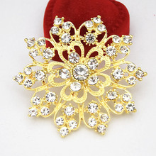 Gold Color Alloy Clear Crystals Rhienstone Big Heart Flower Big Brooch Factory Cheap Retail Pins Lady Buckle Pins(China)