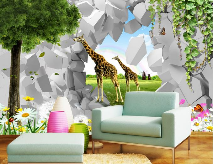 3d stereoscopic wallpaper customized 3d wall murais wallpaper animal world Giraffe TV backdrop Non-woven photo wallpaper<br><br>Aliexpress