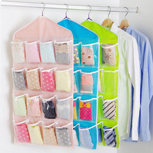 16 Grids Cloth Storage Multilayer Storage Bags Wardrobe Panties Socks Storage Bag Space Saver Organizer Multi-color(China)