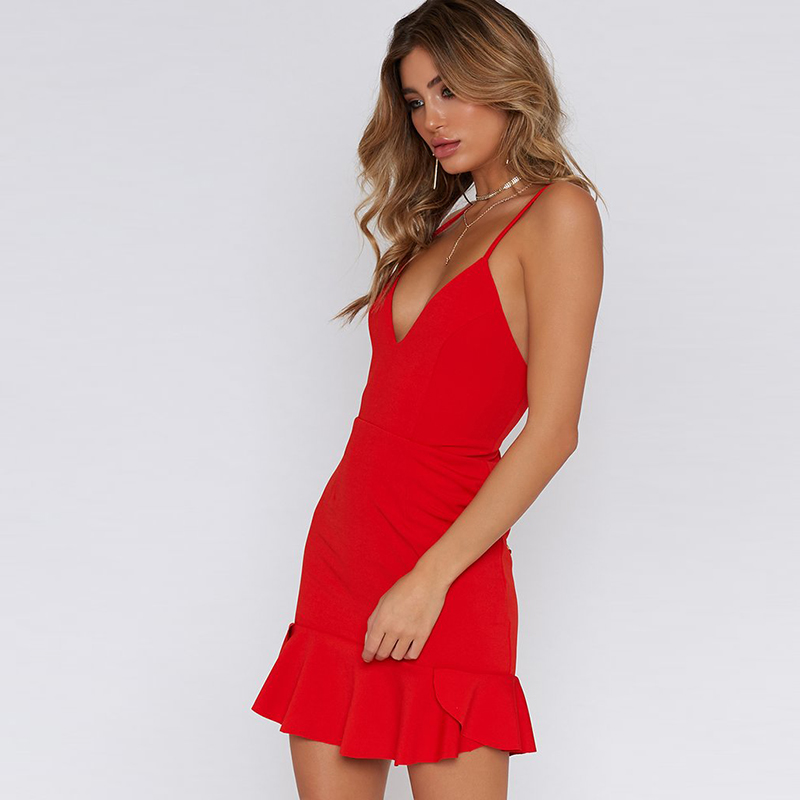 Nadafair Red Black Backless V Neck Lace-up Sexy Bodycon Club Party Dress 2018 New Women Summer Casual Strap Dress 6