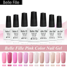 Belle Fille 10ml Pink Color Series UV Nail Gel Polish Rose Gel UV LED Pink Gel Nail Lacquer Soak Off Varnish fingernail Polish(China)