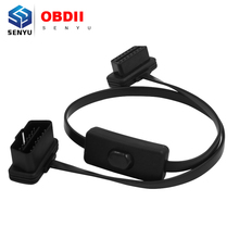 2016 Promotional OBD II extension cable with switch Flat Thin As Noodle 16PIN OBD2 Cable with Switch Type Aut Scanner Connector