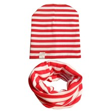 2PCS/sets  Baby Cute Cap Scarf Kids Girls Boys Winter Cotton Hats Knitted Striped Spring Hat Scarf