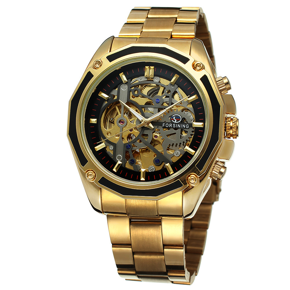 Forsining Top Brand Luxury Military Sports Design Transparent Skeleton Dial Stainless Steel Men Mechanical Watch Automatic Clock<br>