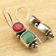 "Rubi & Emeralds 2 Gemset Colorful Earrings 1 1/2 "" Silver Plated GIRLS' Jewelry"